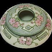 Nippon Hair Receiver, Handpainted Porcelain, Moriage Decoration, Green Maple Leaf Mark