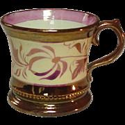 Copper Lustreware Mug, Staffordshire, 19th Century, Pink Lustre Trim