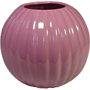 "Haeger Pottery, Ribbed Ball Vase, 6"", Dusty Rose"