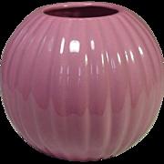 "Haeger Pottery, Ribbed Ball Vase, 6"", Dusty Rose"