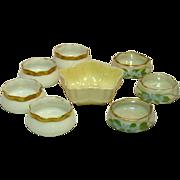 Assorted Vintage Individual Salt Dips, Irsih Belleek, Handpainted