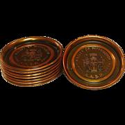 Vintage Copper Coaster Set ~ A.A.S.R. 1852-1952 Commemorative Set