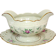 Princess China, TruTone USA, Sweet Briar Pattern, Gravy with Underplate, Mid 20th Century