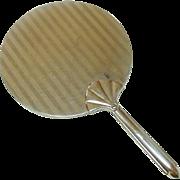 Large Hand Mirror, Art Deco Style, Chrome, Shell or Fan Handle, Boudoir