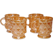 Fire-King Mugs, Peach Luster, Kimberley Pattern, set of four