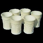 Six Vintage Milk Glass Tumblers - L. E. Smith Company - Dogwood Pattern