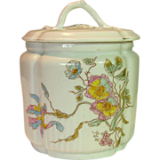 SOLD Old Hand Painted Porcelain Bisquit / Cracker / Cookie Jar