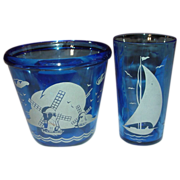 "Hazel Atlas ~ Cobalt with White ~ ""Ships"" or ""Sailboat"" Ice Tub and Tumble"