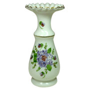 """Consolidated Art Glass ~ Con-Cora Vase ~ Hand-painted Violets ~ 10"""""""