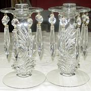 Fostoria Glass ~ #2484 Clear Candleholder w/ Attached Bobeche & Prisms, Pair