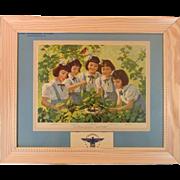 Dionne Quintuplets ~ 1944 Advertising Calendar ~ Framed ~ Mint!