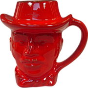 Frankoma Pottery ~ Wyatt Earp Mug ~ 1977 ~ Red