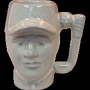 Frankoma Pottery ~ 1979 Golfer Mug ~ White