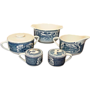 Royal China ~ Currier & Ives ~ Table Set - S & P, Cream & Sugar, Rare Gravy