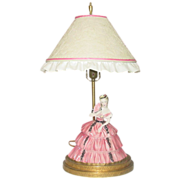 Figural Lamp ~ Antebellum Belle in Pink Dress ~ Fancy Metal Base