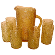 SOLD Anchor Hocking Glass ~ Soreno, Honey Gold, Juice Set ~ 1966-70