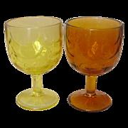 Buttermilk Goblets / Vases ~ Flashed Color ~ 1950's - 60's