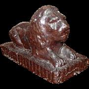 Glazed Terra Cotta Reclining Lion Garden Figure, Late 19th Century