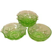 Hazel Atlas ~ Green Depression Glass ~ Fancy Pattern, Berry Bowls