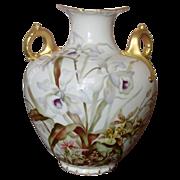 CAC American Belleek Vase ~ Handpainted Florals, Gilt ~ Beautiful!