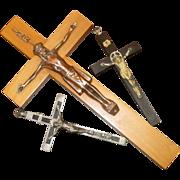 SOLD Three Old Catholic Crosses ~ Pectoral Crucifix ~ Wood, Ebony, Priest