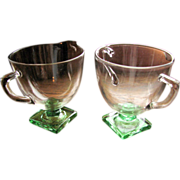SALE Depression Glass Fostoria 'Deco' 4020 pattern, creamer sugar set