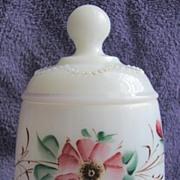 SALE Heisey Victorian milk Glass 'Bead Swag' covered sugar