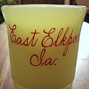 SALE Heisey custard glass Punty Band tumbler, antique souvenir