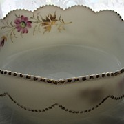SALE Heisey Eapg milk Glass, 'Bead Swag' bowl, handpainted