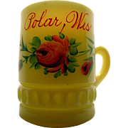 SALE Heisey custard glass, 'Punty band' souvenir mug