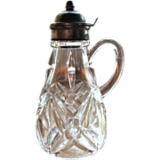 SALE Eapg Tarentum Glass Victorian syrup, 'Beveled Diamond and Star' pattern
