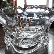 SOLD Eapg 'Bead and Scroll' enameled Berry bowl, U.S. Glass