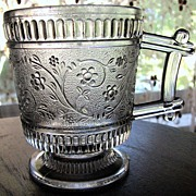 SALE Eapg Victorian pattern glass child's mug, 'Ribbed forget me-not', Bryce