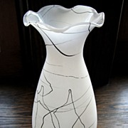 SOLD Vintage Hazel Atlas 'Drizzle String' frosted Vase, Retro black & white