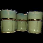 Georgia Gem, Tarentum eapg custard glass tumblers, set of 3
