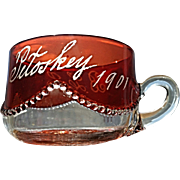 "Heisey ""Bead Swag"" ruby-stained punch cup"