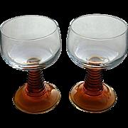 Retro Amber stem cordial / wine glasses, France barware