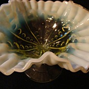 SOLD Yellow Opalescent Frosted Pedestal Fenton Candy  Compote Dish