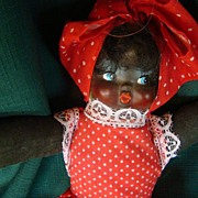 REDUCED Black African American Negro Mammy Doll in red polka dot garment fabric body vintage .
