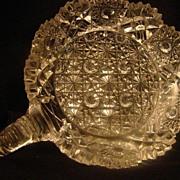 REDUCED Vintage EAPG DISH etched crystal cut pressed glass handled flower hobstar design