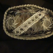 REDUCED EAPG leaded cut glass sawtooth rimmed oval candy dish
