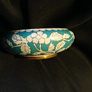 REDUCED Vintage Chinese Canton Floral Enamel Blue and Brass Metal Bowl