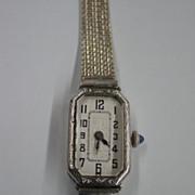 Art Deco Bulova 17 Jewels Ladies Wrist Watch - 19kt White Gold