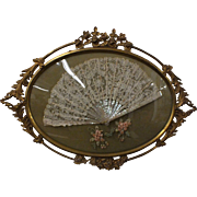 Victorian Hand Made Battenburg Lace Wedding Fan in Ornate Brass Frame