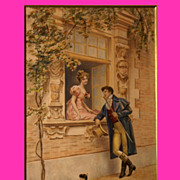 REDUCED Reduced! Superb 19thC painting by French Master Lionel Péraux, the romantic visit