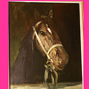 SOLD Superb horse portrait by highly listed European Master, Museum quality