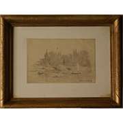 SOLD Great marine 19thC drawing by French impressionist Master Maxime Maufra
