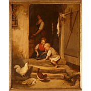 """SOLD Great 19thC English romantic genre scene painting by G Shaw, highly listed, """"childre"""