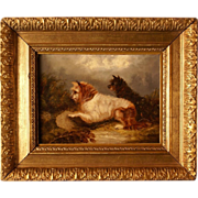 "SOLD Great 1870 British dog painting by G Armfield "" two terriers on the hunt""."
