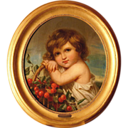 SOLD Superb 1850 Master painting, portrait of a girl with cherries, highly listed master, sign
